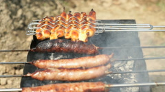 Meat sausage for barbecue for frying on the grill Stock Footage