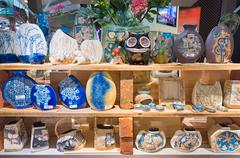 Malaysian fancy earthenware vases Stock Photos
