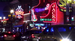 The music saloons on famous Broadway in Nashville Stock Footage