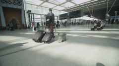 A male traveler walks with his dog through London's St. Pancras railway station Stock Footage