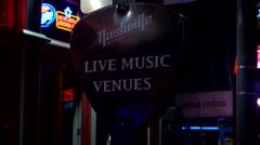 Sign Nashville Live Music Venue Stock Footage