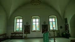 Window russian church the orthodox is preparing for baptism slow motion video Stock Footage