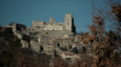 Lacoste village and the castle / Château of Marquis de Sade, France Stock Footage