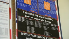 Employment Posters in Break Room Stock Footage