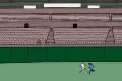 Man in Bleachers Watching Female Soccer Players Stock Illustration