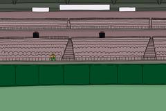 One fan at empty stadium Stock Illustration