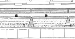Outline drawing of one fan at empty stadium Stock Illustration
