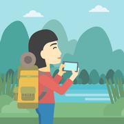 Woman with backpack taking photo - stock illustration