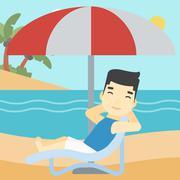 Man relaxing on beach chair vector illustration Stock Illustration