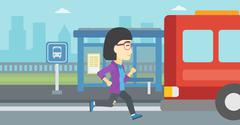 Latecomer woman running for the bus Stock Illustration