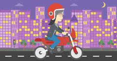 Woman riding motorcycle vector illustration Stock Illustration