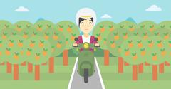 Woman riding scooter vector illustration Stock Illustration