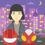 Woman in biker helmet vector illustration Stock Illustration