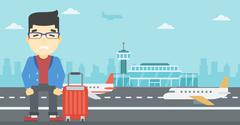 Man suffering from fear of flying Stock Illustration