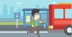 Latecomer man running for the bus Stock Illustration