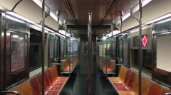 Interior of Empty New York City Subway Car Stock Footage