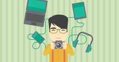 Young man surrounded with his gadgets - stock illustration