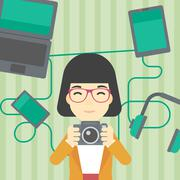 Woman surrounded with her gadgets - stock illustration