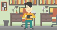 Man using tablet computer vector illustration Stock Illustration