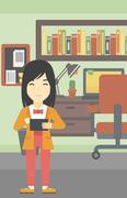 Woman using tablet computer vector illustration Stock Illustration