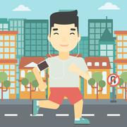 Man running with earphones and smartphone Stock Illustration