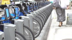 Bicycle sharing in New York Stock Footage