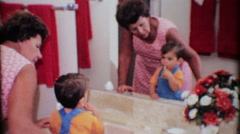 young boy learns to brush his teeth 3538-vintage film home movie Stock Footage