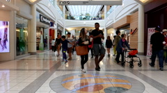 One side of people shopping inside Burnaby shopping mall with 4k resolution Stock Footage