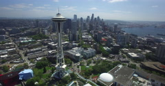 Aerial flyby of the Space Needle towards downtown Seattle Stock Footage