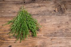 Bundle of fresh thyme on a table Stock Photos