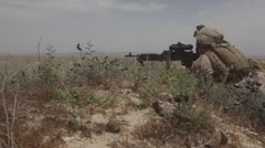 War in Afghanistan - U.S. Marines pinned down return fire POV Stock Footage