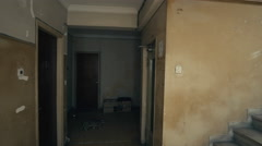 Floor entrance of an old decayed residential building Stock Footage