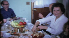 kitchen table full of deserts for family & friends 3535-vintage film home movie Stock Footage