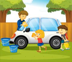 Dad and kids washing car in the park Stock Illustration