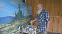 Painter artist posing Stock Footage