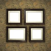 Wooden frame on color wallpaper Stock Illustration