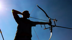 Target Archery: Young Archer Backlight, Practice in Field Stock Footage