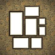 Wooden frame on color wallpaper - stock illustration