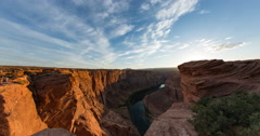 4k Cine sunset at Horseshoe bend facing south time lapse Stock Footage