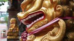 Singapore Baochi temple,Golden Lion Stock Footage