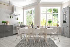 3d render of scandinavian flat - kitchen - dining room Stock Illustration