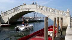 Chioggia - Boat and the Vigo bridge Stock Footage