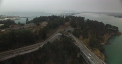 Aerial pushing over Treasure Island to the new Bay Bridge Stock Footage