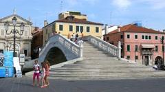 Chioggia - Vigo bridge - Zooming view Stock Footage