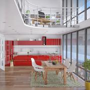 3d - modern loft with gallery, dining area, kitchen Stock Illustration