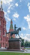 Monument of Marshal Zhukov near the Historical Museum on Red Square Stock Photos