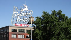 Portland Oregon - White Stag sign at Burnside Bridge and Old Town Stock Footage
