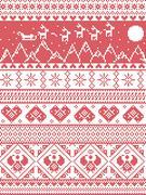 Tall Xmas pattern santas sleigh reindeers Stock Illustration