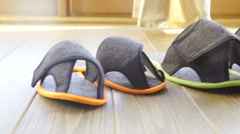 Dolly sliding over colorful slippers closeup 4K Stock Footage