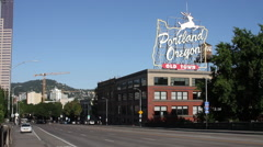 Portland Oregon - White Stag sign at Burnside Bridge, Old Town, no traffic Stock Footage